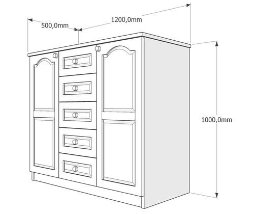 Скрин две врати и четири чекмеджета